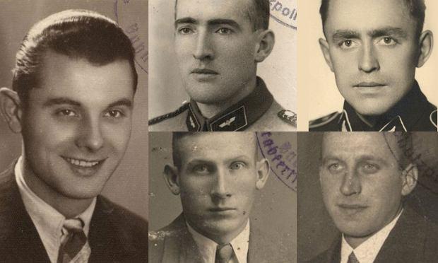 Niemcy zgładzeni 4 marca 1944 r. przez polskie podziemie w wartowni niedaleko Dworca Zachodniego w Warszawie. Na górze od lewej: Hans Schmalz 'Panienka', Rudolf Pein, Tadeusz Dziewulski, na dole: Fritz Ziehn, Paul Krieck