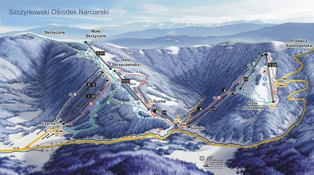 Ośrodek Narciarski Czyrna-Solisko w Szczyrku - mapa stoku / fot.http://www.szczyrkowski.pl