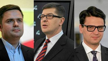 Bohaterowie afery madryckiej w Prawie i Sprawiedliwości - Adam Hofman, Mariusz Antoni Kamiński i Adam Rogacki