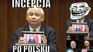 Jarosław Kaczyński, tablet, mem