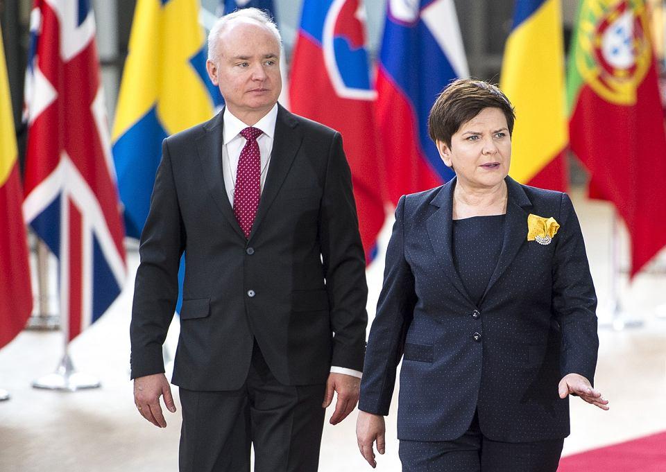 Ambasador Jarosław Starzyk podczas wizyty Beaty Szydło w Brukseli, 29.04.2017
