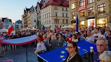 Demonstracja na wrocławskim Rynku