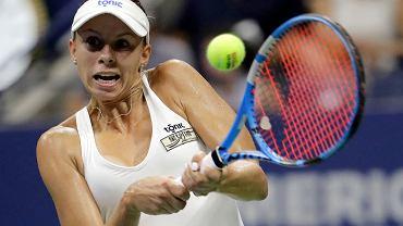 Magda Linette podczas US Open - w meczu z Sereną Williams. Nowy Jork, 27 sierpnia 2018