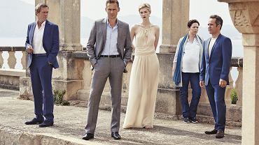 """Night Manager"". Od lewej RICHARD ROPER (Hugh Laurie), JONATHAN PINE (Tom Hiddleston), JED (Elizabeth Debicki), ANGELA BURR (Olivia Colman), MAJOR CORKORAN (Tom Hollander)"