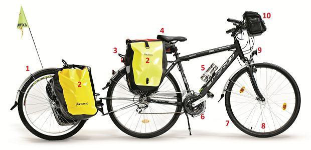Rower gotowy na wyprawę, rowery, sprzęt rowerowy