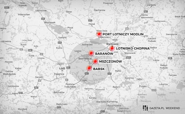 Potencjalne lokalizacje Centralnego Portu Lotniczego (fot. Istockphoto/Grafika: Marta Kondrusik/Gazeta.pl)