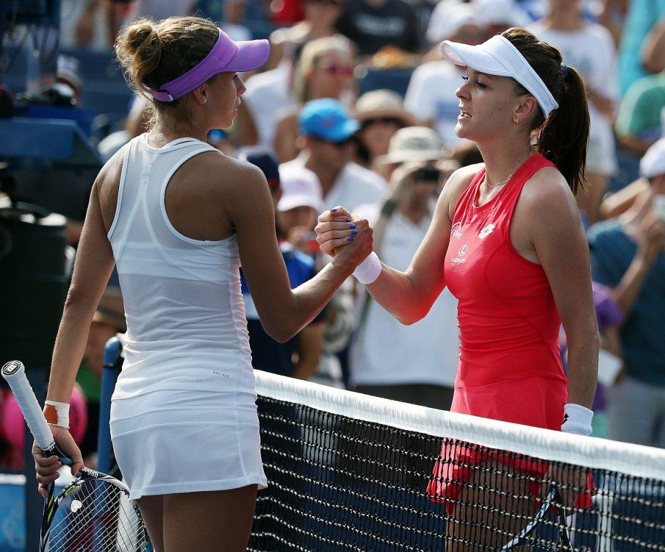 US Open 2015. Magda Linette i Agnieszka Radwańska po meczu
