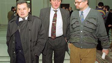 Jarosław Kaczyński, Sławomir Siwek i Adam Glapiński w sejmie, 1992.
