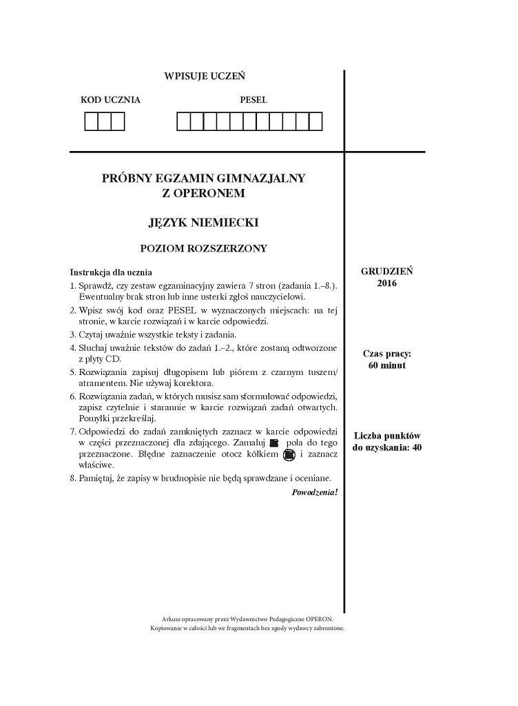 Próbny egzamin gimnazjalny Operon, niemiecki PR, arkusz 1