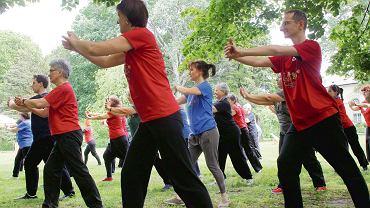 Członkowie Stowarzyszenia Taoistycznego Tai Chi w Łazienkach Królewskich w Warszawie. Grupa spotyka się w każdą niedzielę