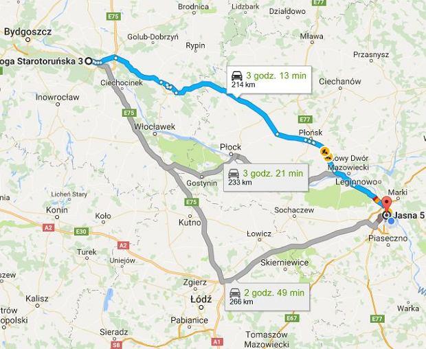 Trasa Toruń - Warszawa