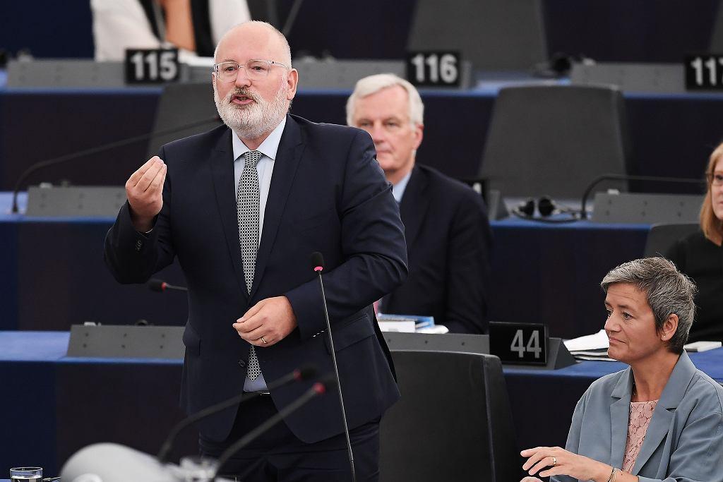 13.06.2018, Strasburg, Frans Timmermans podczas debaty na temat Polski w Parlamencie Europejskim.