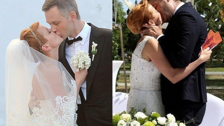 Katarzyna Zielińska i Wojciech Domański na swoim ślubie oraz Katarzyna Zielińska i Jacek Rozenek na planie serialu