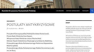 Strona internetowa Komitetu Kryzysowego Humanistyki Polskiej