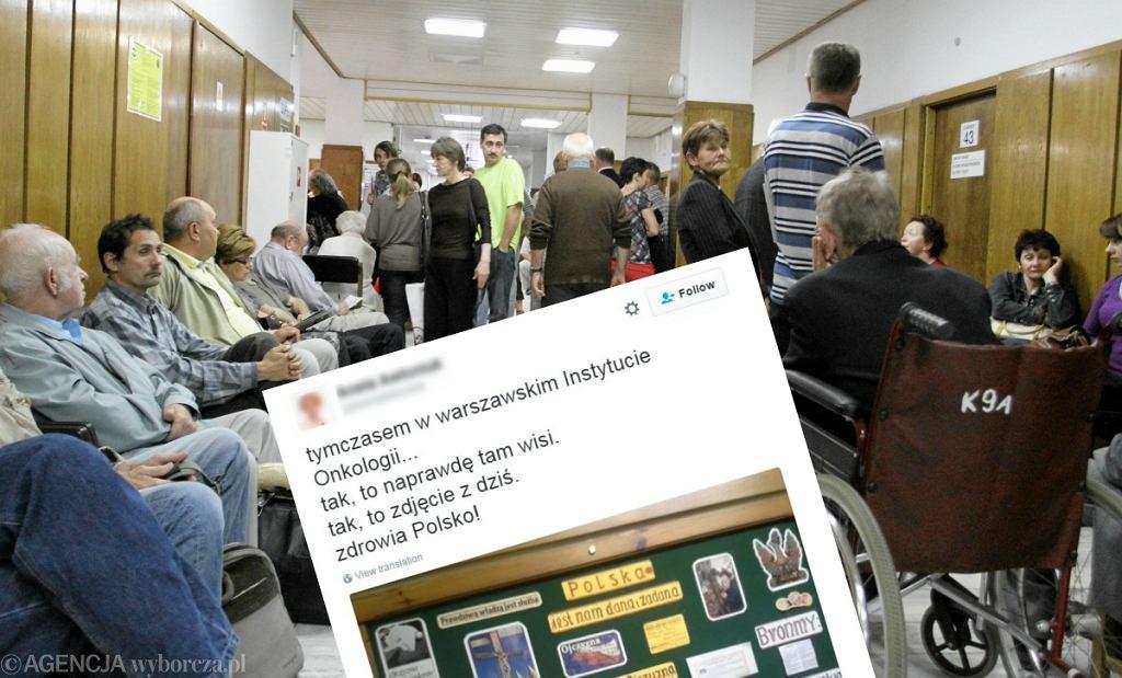 Tweet o tablicy oraz kolejki w Centrum Onkologii