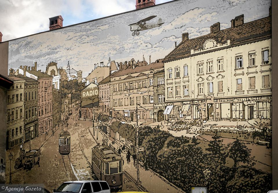 Mural na placu Żwirki i Wigury