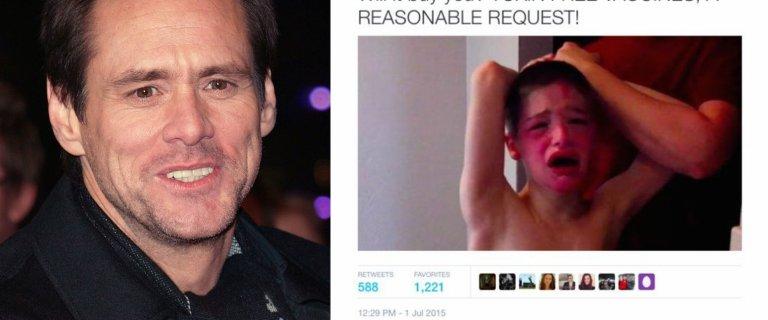 Jim Carrey wykorzysta� zdj�cie autyka do swoich tyrad. Zareagowa�a matka. A internauci - bezlito�ni