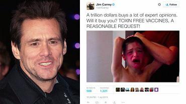 Jim Carrey w tweecie krytykującym szczepionki wykorzystał zdjęcie chłopca z chorobą genetyczną powodującą między innymi autyzm