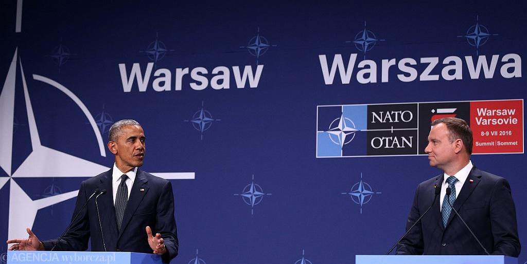 Prezydenci Barack Obama i Andrzej Duda na szczycie NATO w Warszawie (fot. Adam Stępień/AG)