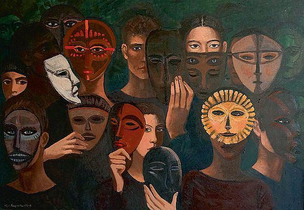 Ludzie i maski, 2014 r., 80 x 100 cm, olej/płótno
