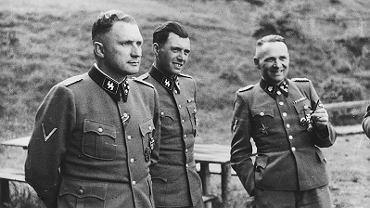 Od lewej: Richard Baer, Josef Mengele i Rudolf Hoess