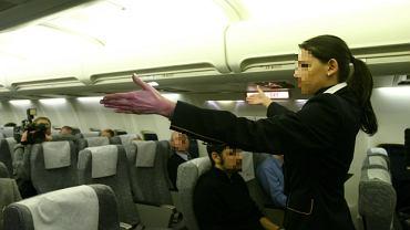 Stewardesa w samolocie (zdjęcie poglądowe)