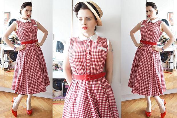 7863e52566 Weekend w stylu Avanti  sukienka retro w kratkę vichy