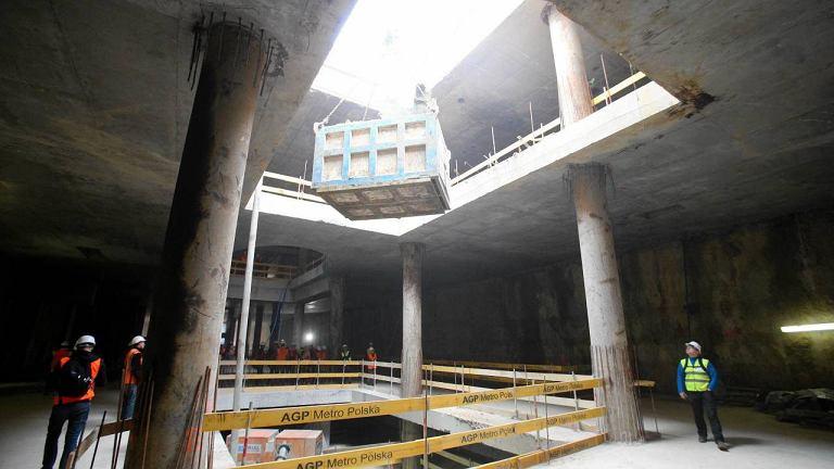 Budowa stacji Świętokrzyska na drugiej linii metra