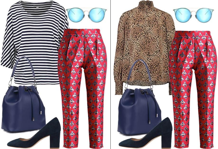 Łączenie wzorów - wzorzyste spodnie i bluzka