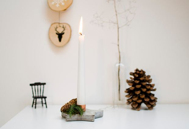 DIY: świecznik z betonu idealny na święta