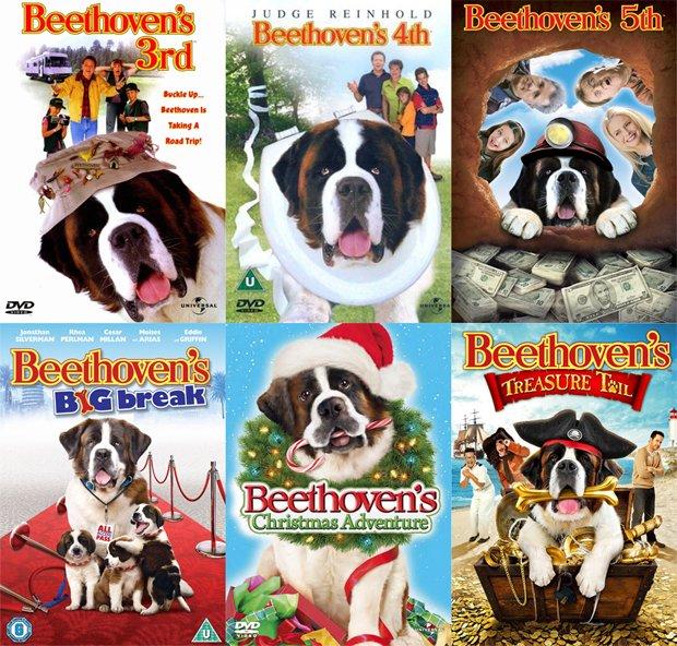 Okładki płyt dvd z filmami z serii o Beethovenie