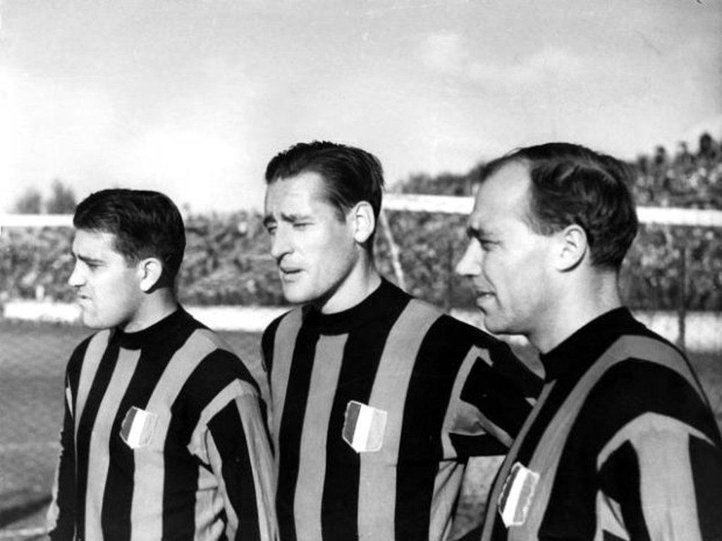Szwedzcy piłkarze AC Milan: Gunnar Nordahl, Nils Liedholm i Gunnar Gren