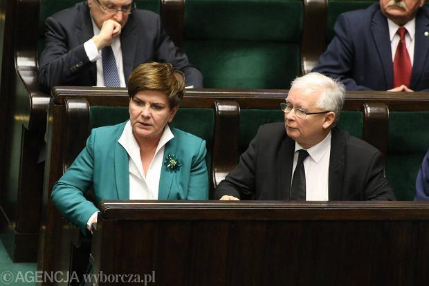 Premier Beata Szyd�o i Jaros�aw Kaczy�ski w Sejmie