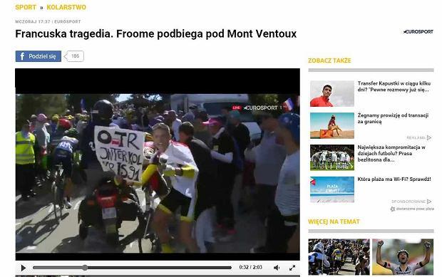Tour de France. Kibic z Polski podczas etapu z kraksą