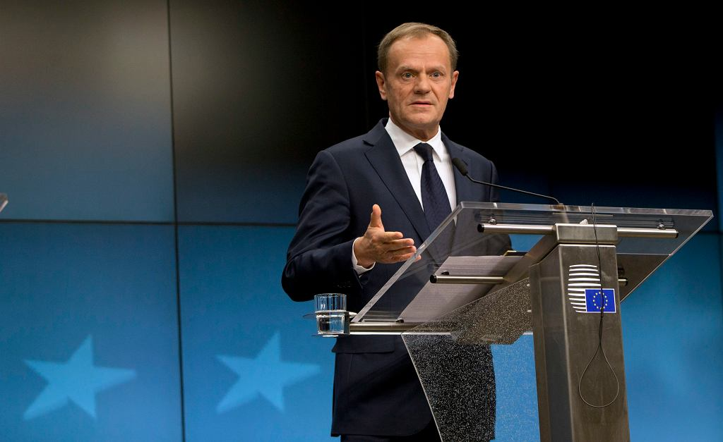 European Council President Donald Tusk speaks during a media conference at the end of an EU summit in Brussels on Friday, March 10, 2017. EU leaders are debating the future of their bloc as Britain eyes the exit door and far-right parties look to get strong results in upcoming elections. (AP Photo/Virginia Mayo)
