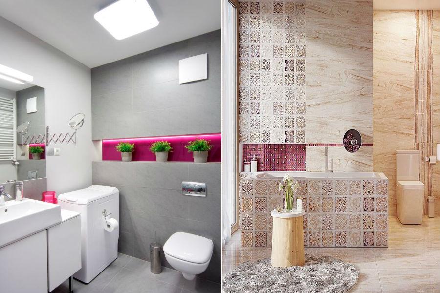 Kobieca łazienka, różowa