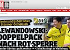 """Bundesliga. Znakomite oceny Lewandowskiego za mecz z Hannoverem. """"Wybitny wyst�p!"""""""