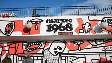 Mural z okazji 50 rocznicy wydarzeń marcowych 1968, Warszawa  25.02.2018.
