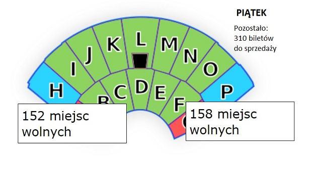 Liczba wolnych miejsc na piątkowy koncert w Opolu