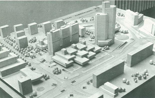 Projekt z lat 70. Tak miał wyglądać plac, na którym w XXI wieku stanęło Galaxy. (Fot.