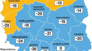 """Spadek udziałów """"Wiadomości"""" w widowni w podziale na województwa."""