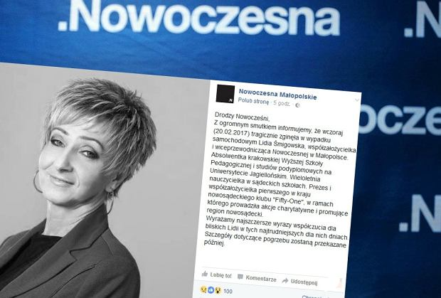 Lidia Śmigowska nie żyje. Wiceprzewodnicząca Nowoczesnej w Małopolsce zginęła w wypadku