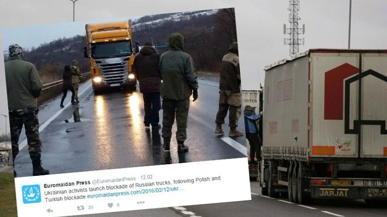 Na Ukrainie rozszerza się blokada rosyjskich ciężarówek, które nie jeżdżą przez Polskę