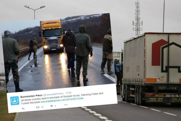 Na Ukrainie rozszerza si� blokada rosyjskich ci�ar�wek, kt�re nie je�d�� przez Polsk�