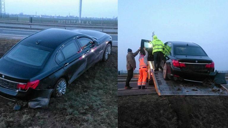 Prezydenckie auto wpadło w poślizg na A4