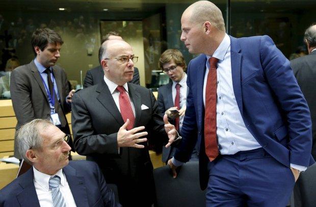 Ministrowie spraw wewn�trznych W�gier i Francji podczas spotkania w Brukseli