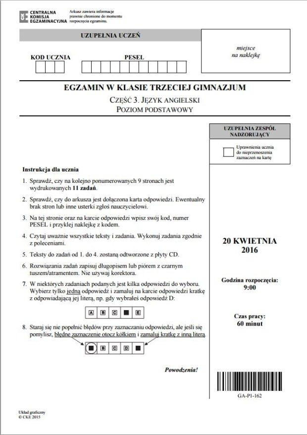 Egzamin gimnazjalny 2016 - cz�� j�zykowa. ANGIELSKI, poziom podstawowy. Zobacz przyk�adowe ODPOWIEDZI