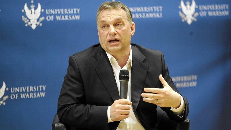 Viktor Orban podczas wystąpienia na Uniwersytecie Warszawskim