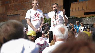 Piotr Walentynowicz i Piotr Duda podczas obchodów rocznicy Sierpnia'80 w 2015 roku