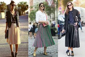 Wiosenne stylizacje z plisowanymi spódnicami